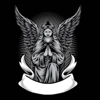 Angel statue vector logo illustration