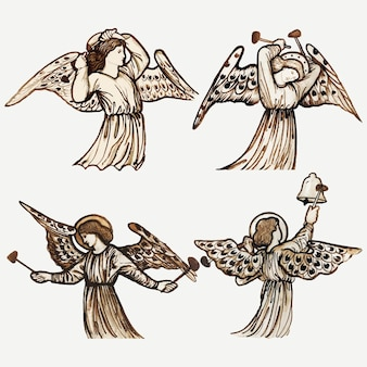 エドワードコーリーバーン卿のアートワークからリミックスされた天使のベクトルイラスト–ジョーンズ
