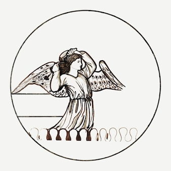 Angel vector illustration, remixed from artworks by sir edward coley burne–jones