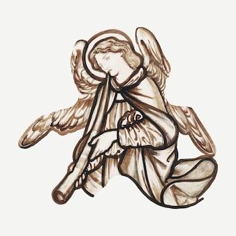 Illustrazione vettoriale di angelo, remixata da opere d'arte di sir edward coley burne–jones