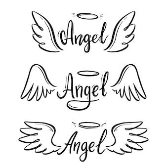 Крыло ангела с нимбом и набор текста надписи ангела. рука нарисованные линии эскиз стиля крыла. простая векторная иллюстрация.