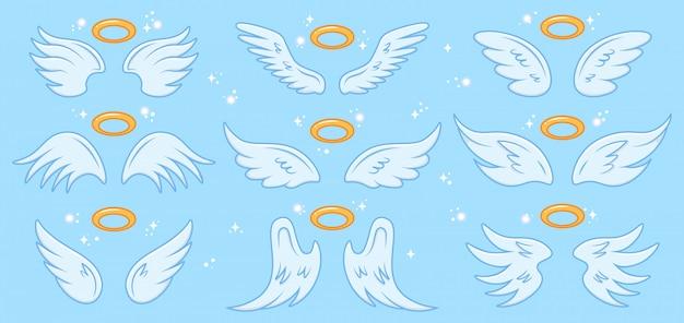 天使の翼。漫画の天使の翼とニンバス、翼のある天使の神聖な記号、天国のエレガントな天使の翼のイラストアイコンセット。天使、神聖なニンバスの翼、シンボルの翼