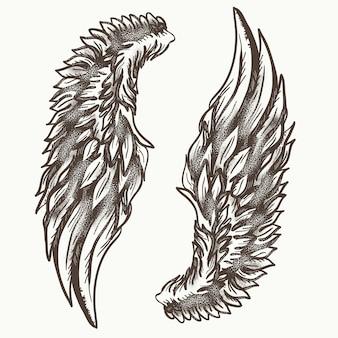 天使の羽、手描きの要素
