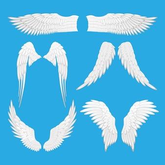 天使の羽のイラスト。天使、ワシの鳥の羽のセットは、編集可能な要素を分離しました。さまざまな形のグラフィック動物の抽象的な翼。タトゥーファンタジーバレンタインデーの装飾。