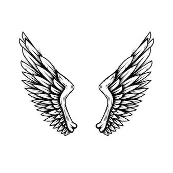 Крылья ангела в стиле татуировки, изолированные на белом фоне. элемент дизайна для плаката, дерьмо, карты, эмблемы, знака, значка. векторная иллюстрация