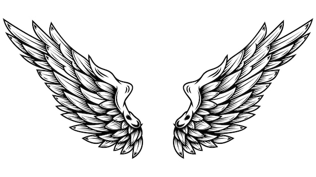 Крылья ангела в стиле татуировки, изолированные на белом фоне. элемент дизайна для плаката, дерьмо, карты, эмблемы, знака, значка.