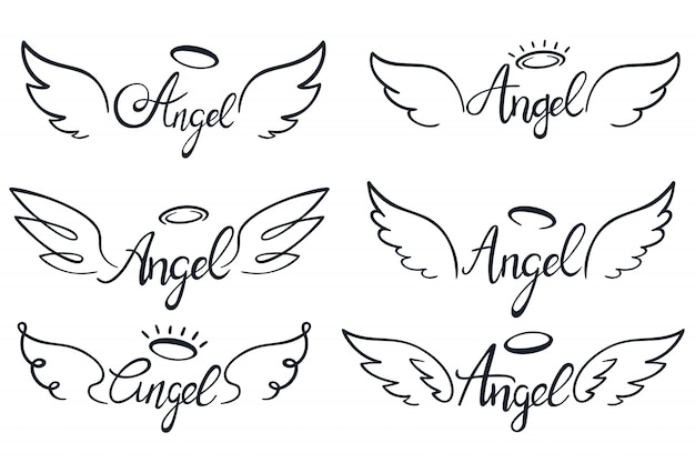 Angel wings lettering. heaven wing, heavenly winged angels and holy wings sketch vector illustration set