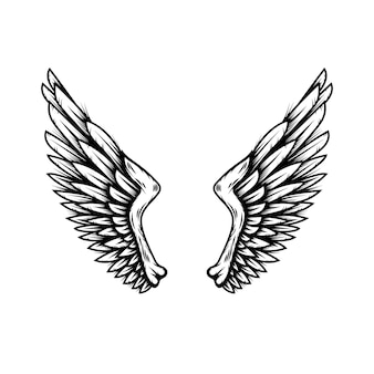 Angel wings in tattoo style isolated on white background. design element for poster, t shit, card, emblem, sign, badge. vector illustration