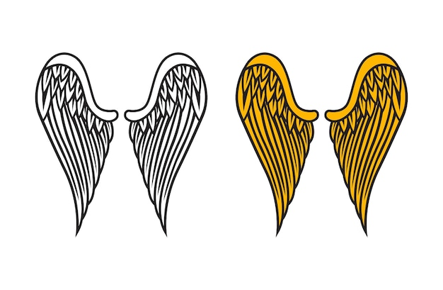 Вектор крылья ангела, изолированные на белом фоне