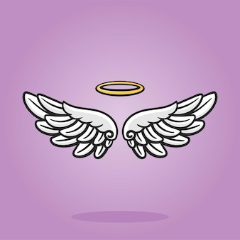 Angel wings with gold nimbus flat pictures, cartoon illustration