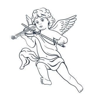 고립 된 바이올린과 천사