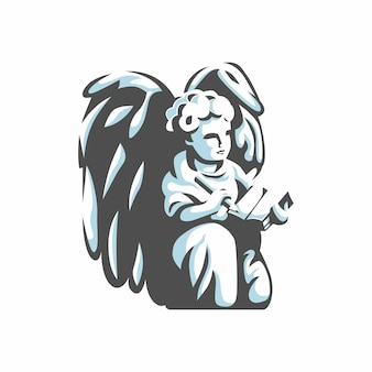 Angel with pencil and book logo vector