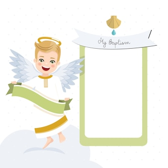 Angel with ribbon. baptism invitation with message. flat vector illustration