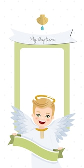Angel with ribbon. baptism vertical invitation with message. flat vector illustration
