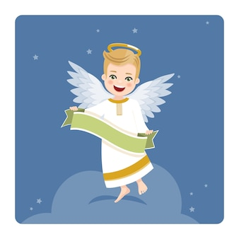 Angel with ribbon on blue sky and stars. flat vector illustration