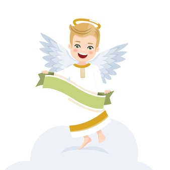 Angel with ribbon. isolated flat vector illustration