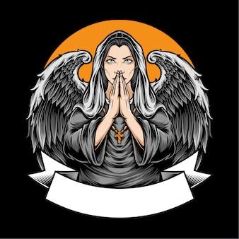Ангел женщины с крыльями