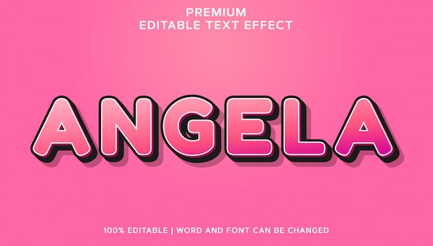 Angela premium 편집 가능한 글꼴 텍스트 효과