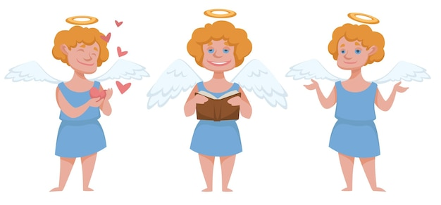 Angelic boy character with wings and halo, cupid with book and hearts. emotional kid wearing robe. mythology or religious personage, xmas and new year, celebration of christmas. vector in flat style