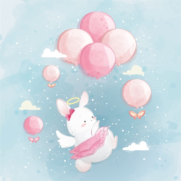 Angelic bunny flying in the sky