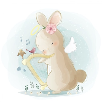 Angelic bunny playing a harp