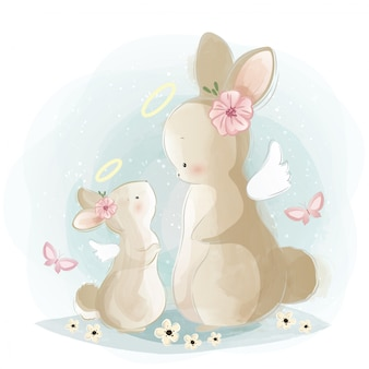 Angelic mommy and baby bunny