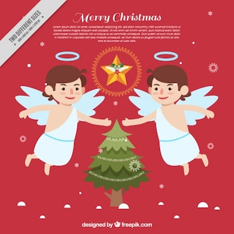 Angelical background with christmas tree