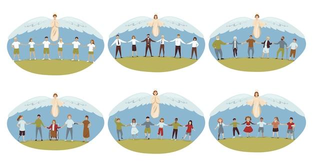 Ангелы библейские религиозные персонажи, защищающие стариков