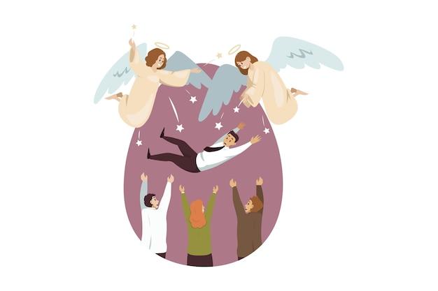 Ангелы библейские персонажи радуются команде бизнесменов женщин-менеджеров