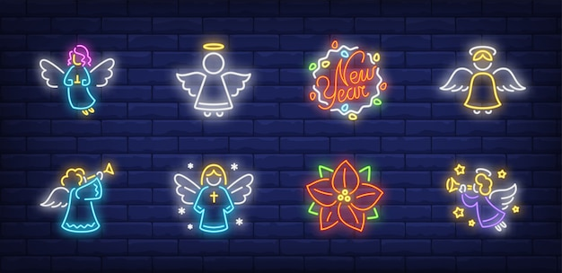 Angels symbols set in neon style