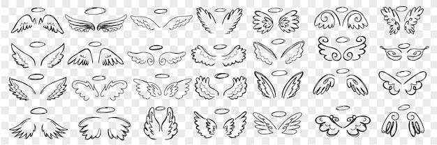天使の羽とハロー落書きセット。孤立した列の聖人のキャラクターの手描きの翼と天使のアクセサリーのハローのコレクション。