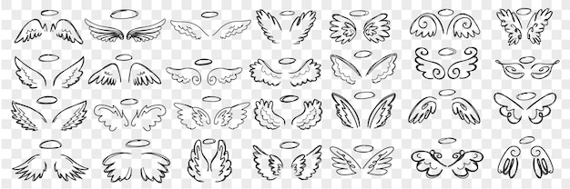 Angels wings and halo doodle set. collection of hand drawn wings and halos of angels accessories of saint character in rows isolated.