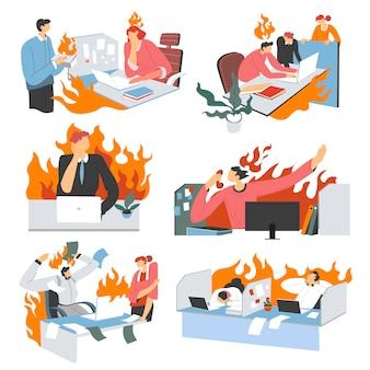 働き過ぎのオフィスでの怒りと欲求不満