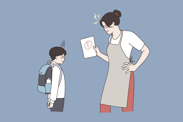 Гнев и отношения между родительской и дочерней концепцией. сердитая женщина-мать, стоящая и смотрящая на своего сына, злится из-за его плохой оценки в школе векторная иллюстрация