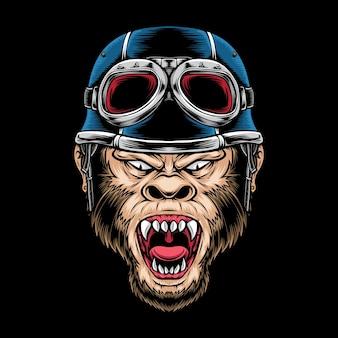 Logo di motociclista scimmia rabbia isolato sul nero