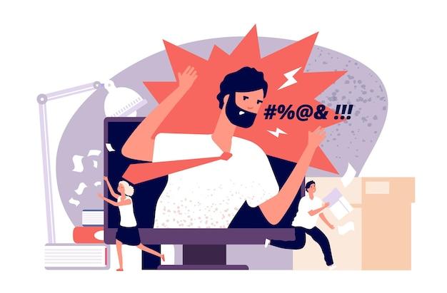 분노 개념. 피곤하고 좌절하며 겁에 질린 직원은 온라인 회의에서 화난 상사로부터 도망칩니다. 사무실 압력 벡터 이미지입니다. 그림 분노 보스와 실행 작업자