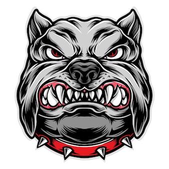 怒り犬の頭のイラスト