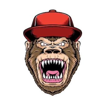 Anger gorilla wearing caps isolated on white