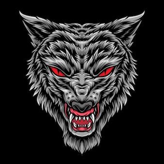 Anger grey wolf