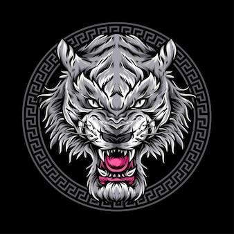 怒りのライオンの頭のロゴ