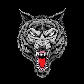 Testa di lupo di rabbia isolata sul nero