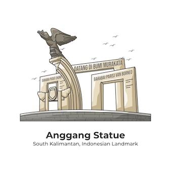 Anggang 동상 인도네시아 랜드 마크 라인 만화 일러스트 레이션