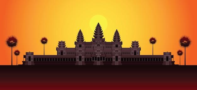 日の出カンボジアのランドマークのアンコールワット