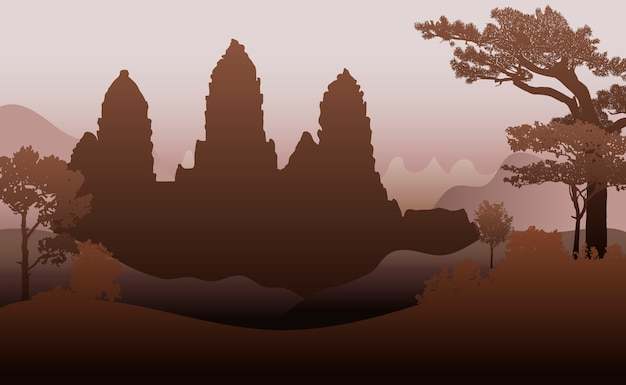 The angkor wat temple silhouette vector design
