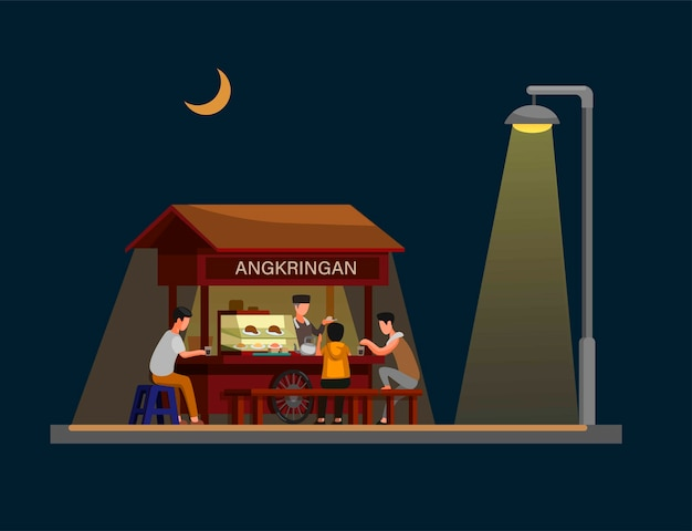 Angkringan is traditional street food from jogjakarta indonesia in night. concept in cartoon illustration