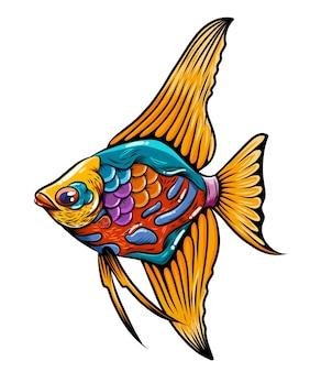 긴 노란색 지느러미와 꼬리가있는 몸에 혼합 색상의 각도 물고기 zentangle