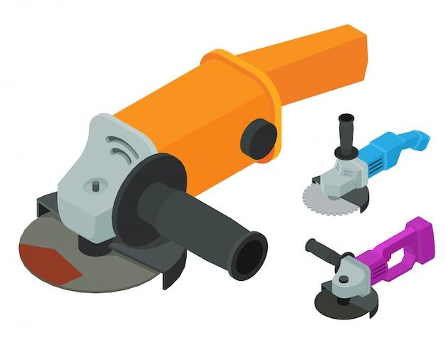 Angle grinder icons set, isometric style
