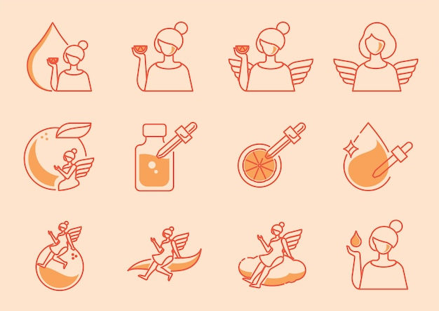Angle icon set with orange vitamin c