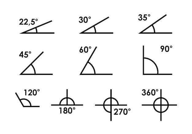 180、45、30、90度の角度のベクトル図です。幾何学、数学のシンボル。さまざまな角度の角度で構成されるベクトルアイコンのセット。