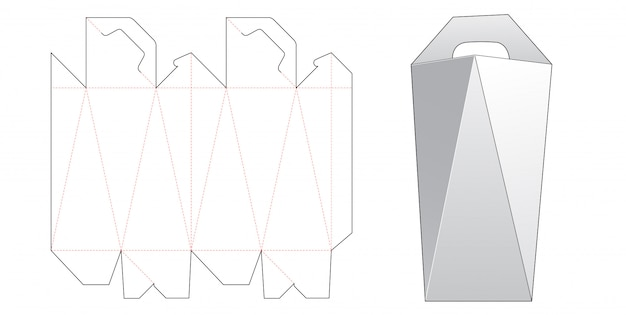 Angled side box with handle die cut template design